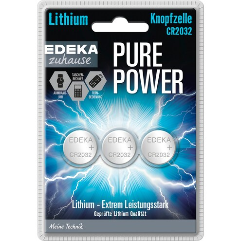 EDEKA Zuhause Pure Power Lithium Knopfzelle CR2032