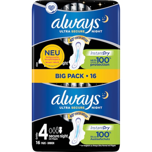 Always Ultra Secure Night mit Flügeln Damenbinden Bigpack