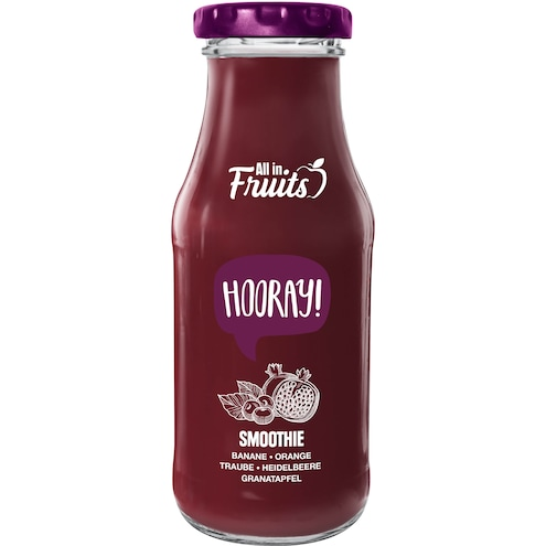 All in Fruits Smoothie Hooray Banane Heidelbeere Granatapfel Acai Aronia